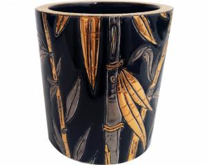 Pot à Bougie + Bougie (Bambou) Noir