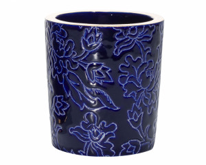 Pot à Bougie D5675 - Bleu Filet + Bougie (Tradition)