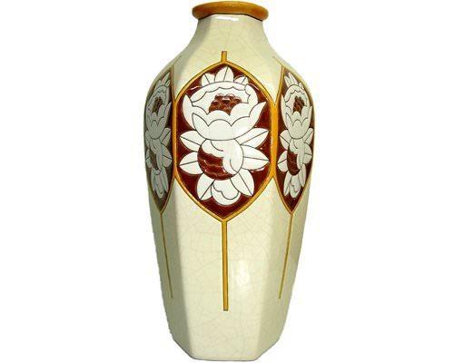 Vase Octogonal Dahlias (Art déco)