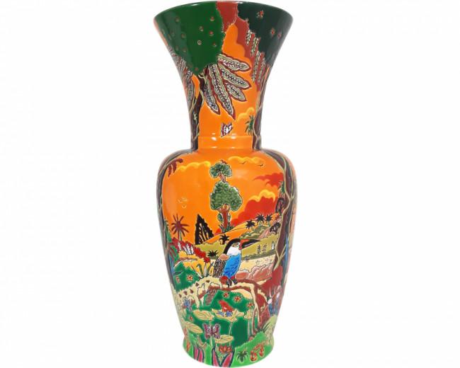 Vase à Col Petit Modèle (Toucan à Bec Noir)