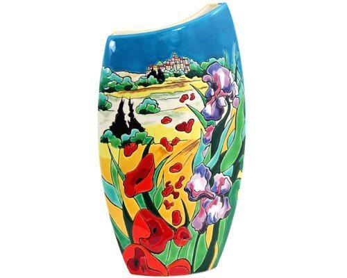 Vase courbe (Iris et Coquelicots)