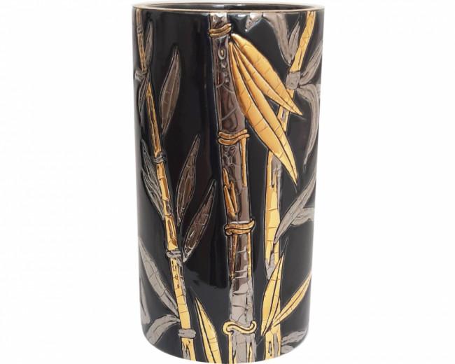 Vase Cornet H 17 cm (Bambou) noir