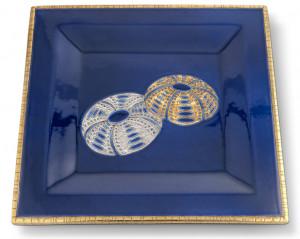 Vide-Poches Carré Grand Modèle (Oursins) Fond Bleu