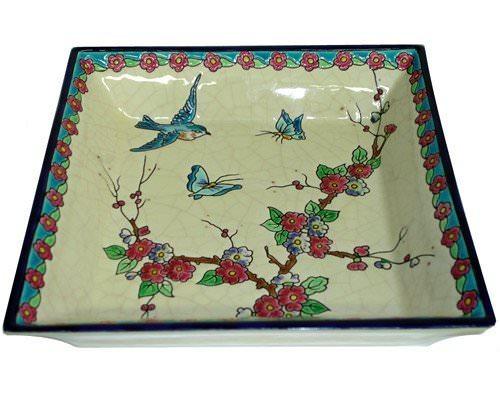 Cendrier Carré Evasé Fleurs et Oiseaux (Tradition)